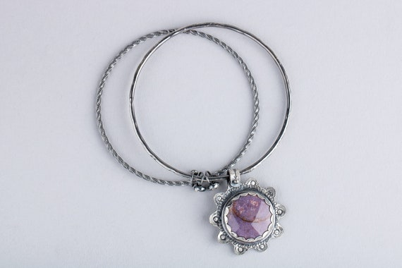 Purple Burro Creek Jasper Gemstone Bangle Bracelet in Sterling Silver