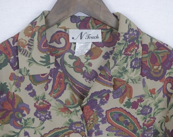 Vintage N Touch Paisley Colourful Blouse Oversized XL