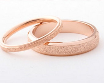 Frosted 18K Rose Gold Ring (Thin), rose gold ring, frosted ring, sparkling ring, wedding band