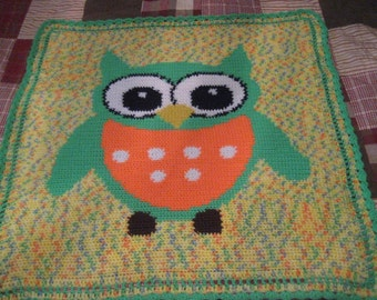 Bright Colorful  Cute Owl Blanket