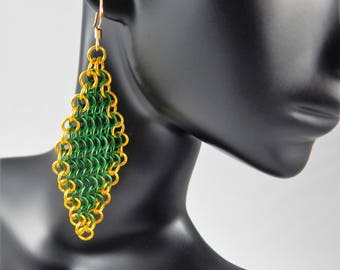 European Four-in-One Diamond Chainmaille Earrings, Handmade Chainmail Earrings,Mesh Earrings, St. Patrick's Day