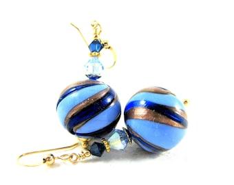 Cobalt Blue Gold Murano Earrings, Glass Earrings, Modern Earrings, Dangle Earrings, Venetian Murano Earrings, Murano Jewelry - Blue Ribbon