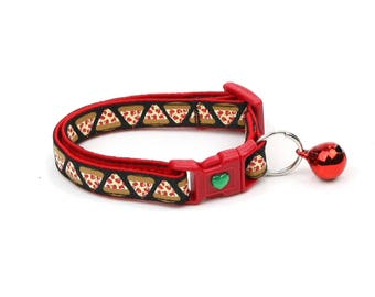 Pizza Cat Collar - Pizza Slices on Black - Small Cat / Kitten Size or Large Size