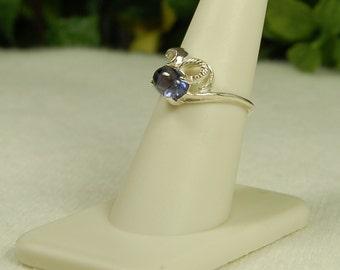 Tanzanite Ring, Size 7.5, Violet Blue, Tanzanite Cabochon, Sterling Silver, December Birthstone, Purple Blue Tanzanite, Natural Tanzanite