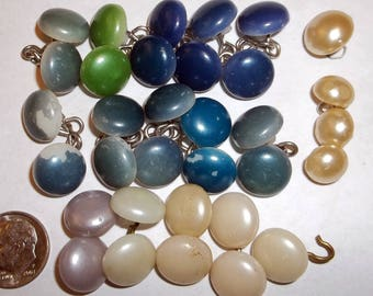 Vintage Buttons Round Pearl Style Blue White Green 33 Buttons