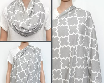 Gray Nursing Cover -  Nursing Cover - Nursing Cover Scarf -  Nursing Infinity Scarf - Breastfeeding Cover - Quatrefoil Infinity Scarf