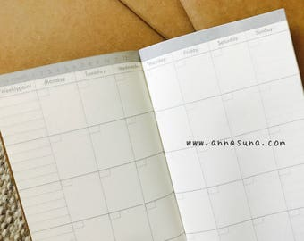 Monthly Standard Traveler's Notebook Insert, Monthly Diary, TN Monthly Refill, Traveler's Journal, Bullet Journal, Planner Inserts