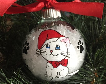 Personalized Hand Painted Cat Christmas Ornament
