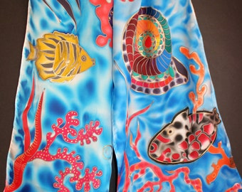 Hand painted silk scarf,Sea Aqua ocean water,Fish red korall,Marine scarf,Blue red yellow,Long satin,Colorful,Blue Water Scarf,Gift for her