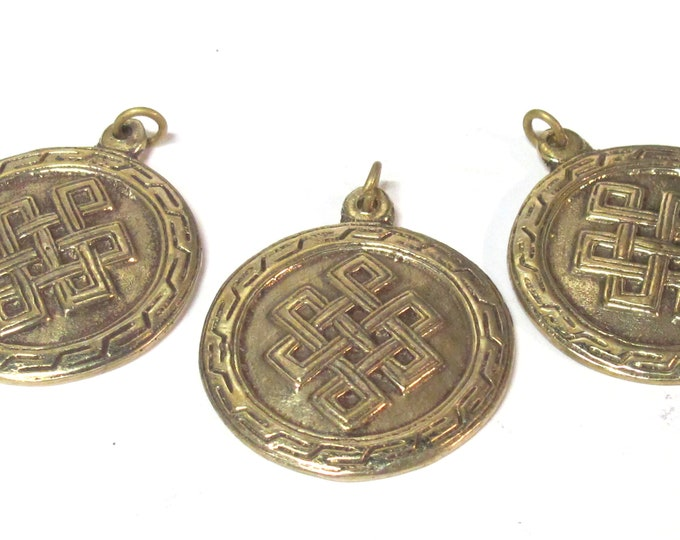 3 Pendants - Tibetan brass infinity knot endless knot symbol with reverse side om mantra pendant from Nepal - CP139s