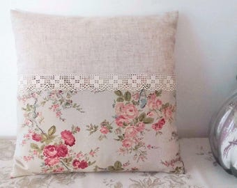 Cushion 40 x 40 natural linen romantic flowers lace old Shabby