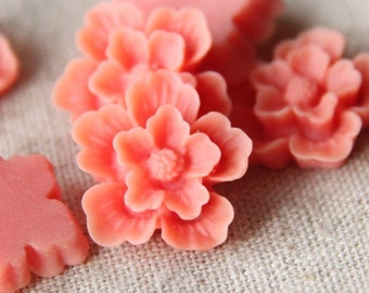 12 pcs of sakura flower cabochon-22mm-rc0166-11-orange