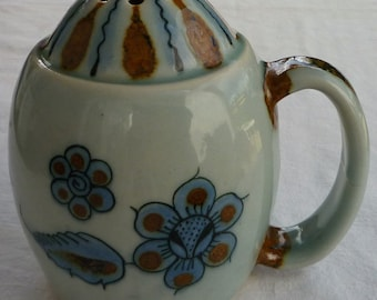 Vintage Ken Edwards El Paloma Cocoa Powder Shaker signed with Birds, Butterflies, Flowers