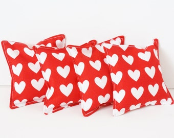 4 Red Valentine Bean Bags - WASHABLE - Kids Bean Bag Toss Game - Heart Beanbags - Valentine Classroom Party Games - 4 Inch - School Party