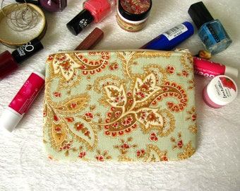 Zippered pouch with romantic orient pattern, makeup bag, phone case, purse