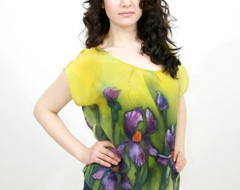 Women's pure silk blouse. Iris flowers motive hand painted natural silk shirt. Made to order.