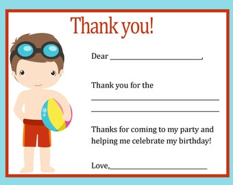Pool Party Thank You Card Digital file - You print / Boys Pool Party / Thank You Card Pool Party / Pool Birthday Party