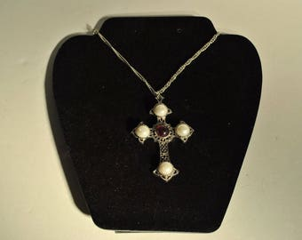 Vintage Sarah Coventry Cross Crucifix Pendant Faux Pear