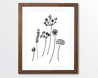 Wild Flowers Art Print - Minimalist Black and White Pen and Ink Modern Art - Simple Modern Art - Rustic Decor