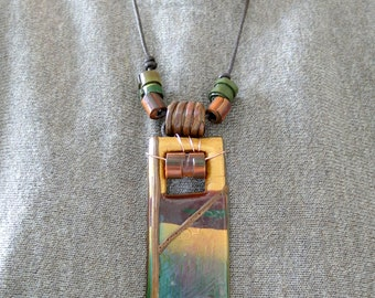 Necklace with rectangular gold shimmering Fimoanhänger
