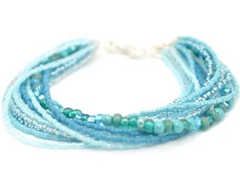 Aqua Beaded Bracelet | Boho Bead Bracelet | Ombre Beaded Bracelet | Blue Green Seed Bead Bracelet