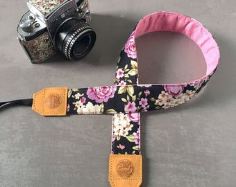 DSLR camera strap,Black Pink flower Camera Strap, leather camera Strap Gift for her