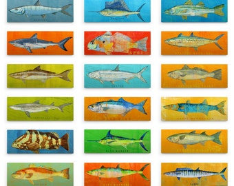Fishing Gifts for Men, Saltwater Fish Art Block, Pick the Fish Wall Decor