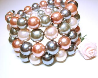 JEWELRY CUFF Pink Silver Pearls Wrap Bracelet Boho Stack Cuff With Gorgeous Pink And Silver Pearls Gift For Her