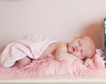 Newborn Photography Prop Pink Mongolian Faux Fur Baby Girl Photo Prop Fur Blanket PInk Baby Photo Prop Long Faux Fur Fabric Baby Photo Prop