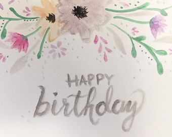 Floral Watercolour Birthday Card