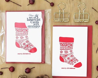 Set of 5 Christmas cards, Santa stocking cards, Christmas card set, Christmas card pack, Mini cards, Holiday cards, Christmas stocking cards