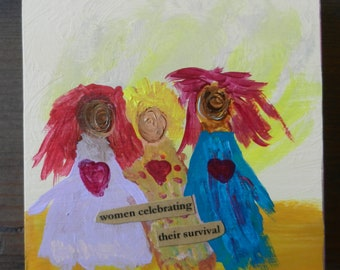 Women Celebrating Their Survival Small Wood Painting