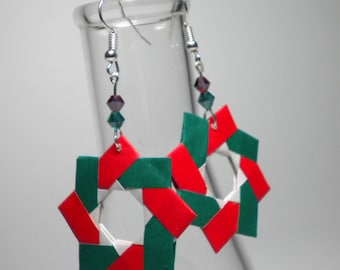 Origami Holiday Wreath Sterling Silver Dangle Earrings Choose Options
