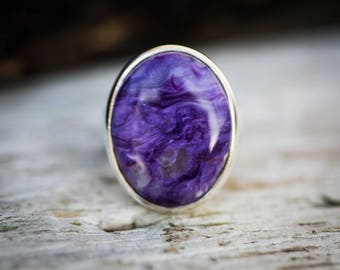 Charoite Ring 8 - Charoite and Sterling Silver Ring size 8 - Siberian Charoite - Genuine Charoite Ring - Sterling Silver and Charoite Ring