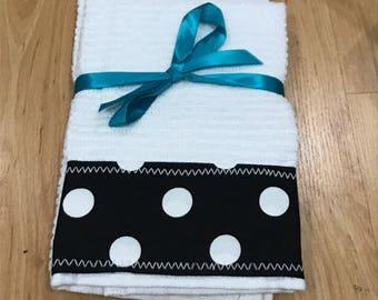 Balck and White polka dot Hand Towels