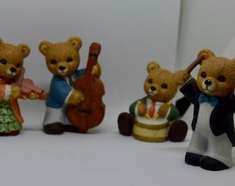 Homco #1422 Strike up the Band Bears, set of 4