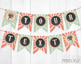 Vintage Circus Carnival Party Banner INSTANT DOWNLOAD Stripe Pastel Coral Pink Mint Flags Bunting Birthday Baby Shower Personalize Printable