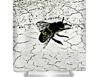 Bee Shower Curtain,Unique Insect Shower Curtains,White,Black,Yellow,Bath Curtain,Bug Bathroom Decor,Accessory,Designer Bug Shower Curtain