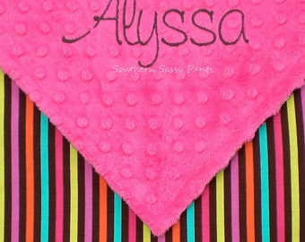 Personalized Baby Blanket Girl ,  Name Blanket , For Baby Girls , Minky Baby Blanket , Candy Stripe , Baby Girl Shower Gift
