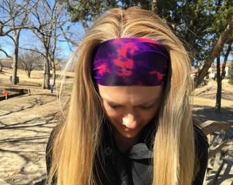 Purple Pink Boho Headband, Workout Headband, Fitness Wide Nonslip Headband, Boho Purple Headband, Fitness Headband, Headband, Workout