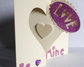 VALENTINES DAY  LOVE cream and  lilac  flip heart card