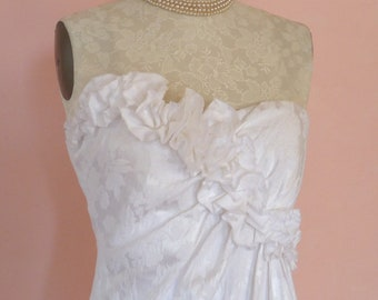 1980s White Damask Maggy London Strapless Dress / Vintage Damask Alty Wedding Dress / Maggy London Prom Dress Size 10 / Maggy London Design
