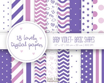 baby digital paper, purple digital paper, digital paper kit, baby scrapbook, baby violet, hearts, pattern, commercial Use, baby shower