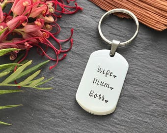 Wife Mum Boss - Mothers Day Gift - Gift for Mum - Boss Lady Gift - Hand Stamped Keyring - Australia - Personalised Gift for Her