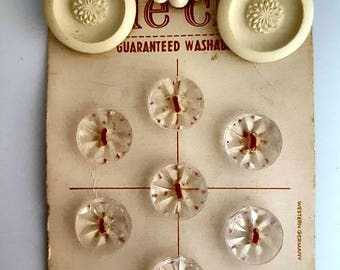 Vintage White Clear Buttons/Sewing Notions/Le Chic Buttons
