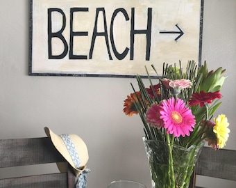 Beach Painting - beach cottage art - life by the sea - coastal decor - beach direction art - San Diego - encinitas