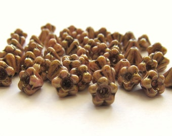 Opaque Rustic Rose Czech Glass Baby Bell Flowers with Luster Finish, 5mm x 6mm - 50 pieces