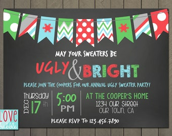 Ugly Sweater Christmas Holiday Party invitation PRINTABLE DIGITAL FILE - 5x7