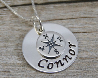 Hand Stamped Jewelry - Personalized Jewelry - Sterling Silver Necklace - Compass Charm and Name