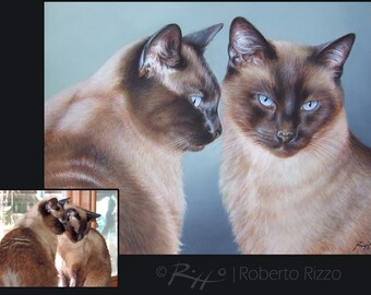 Custom Cat Portrait FOR TWO CATS, Pet portrait, Cat Painting, Cat art - Painting on Stretched Canvas from your Photographs